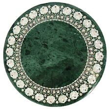 Mother of Pearl Inlaid Marble Hallway Table Green Sofa Table Top 36 Inches