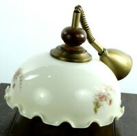 Vintage Retro Floral Milk Glass and Brass Ceiling Light - FREE Shipping [P4918]