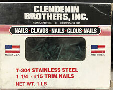 """New listing T 304 (1lb Box) 1-1/4"""" stainless steel #15 trim nails Clendenin Forest Green"""