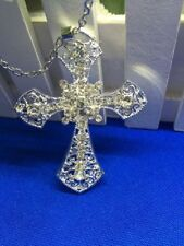 """3mm Rope Italian chain necklace men Large 3"""" Cross Crystal pendant 925 Silver"""