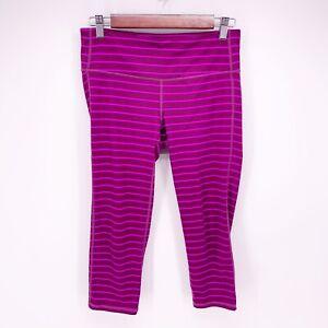 Athleta Women's M Purple Striped Chaturanga Capri Crop Stretch Leggings F18