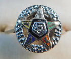 Vintage Masonic Order of Eastern Star OES Gold Enamel Diamond Ring Size 7 1/4  for sale