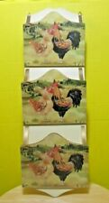 Mail organizer Wall mounted Wooden Painted rooster & chicken motif Nice!