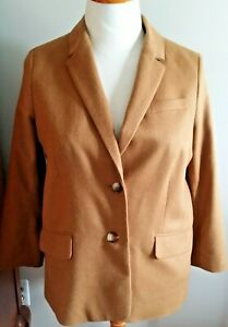 NEW WITH TAGS! TALBOTS  Wool Blend Flannel Blazer-Petite 16-Camel