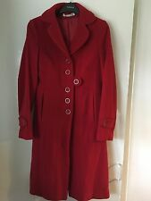 TOPSHOP LUXURY RANGE VINTAGE RED WOOLEN FULL LENGTH TAILORED COAT SIZE 8 S/M