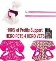 Top Paw Comfort Harness Cute Pink Black Polka Dot Leash XXS XS Girl Dog