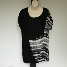 'TS-TAKING SHAPE' BNWT SIZE '12' BLACK & WHITE SHEER CAP SLEEVE TOP