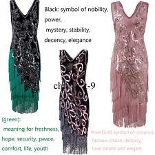 Vintage Flapper 1920s Dress Gatsby Sequin Beads Fringe Dresses Costume Plus Size
