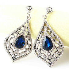 GORGEOUS ZARA CLEAR SPARKLING STONES BLUE DROP EARRINGS – NEW