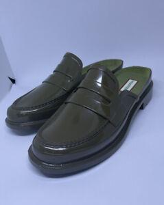 Hunter Green Original Gloss Backless Penny Loafers Size UK 5