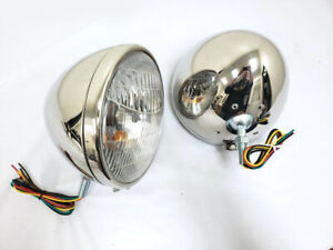 """1933 1934 Ford POLISHED STAINLESS Headlights w Turn Signal 9 1/2"""" Chevy Dodge"""