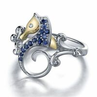 Women Engagement Size 6-10 Wedding Two Tone Seahorse 925 Silver Ring Blue Topaz