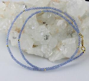 Tanzanite Necklace Precious Stone Natural Faceted Fein-Geschliffen 46 CM