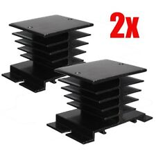 2PCS Aluminum Heat Sink For Solid State Relay SSR Type Heat Dissipation Black