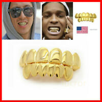 Hip-Hop Rapper 14K Gold Plated Mouth Caps Custom Teeth Grills Bottom Grillz Set