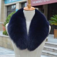 "Navy Blue Fox Fur Collar Detachable Down Jacket Men Fur Scarf Wrap Cape 31.5"""