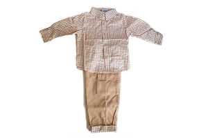 JOLIBEAR Kids Chequered Shirt + Corduroy Trousers Outfit Getup Set (Years 2,3,4)