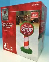 """3' 6""""  Christmas Lighted Santa Stop Here Sign Airblown Inflatable Yard Decor"""