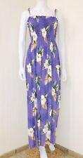 NWOT Royal Creations Hawaiian Purple Floral Smocked Tube Maxi Dress Size O/S