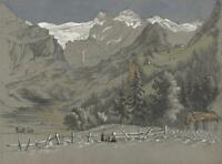 MOUNTAIN LANDSCAPE SWITZERLAND Victorian Watercolour Painting c1870 ALPINE