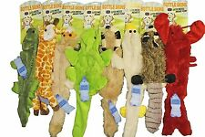 """8 Bottle Skins Stuffing Free Furry Dog Puppy 20"""" Toys w/Squeakers Raccoon,Fox"""