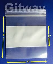 1000 4 X 4 White Block Writeable Resealable Zip Top Lock Plastic Bags 4mil