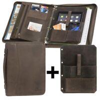 Tagungsmappe A4 Leder dunkelbraun Konferenzmappe Ringbuchmappe + Tablet-Einleger