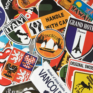 40pcs Travel Map Stickers World Famous Tourism Country Regions Logo Decals.