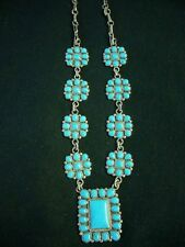 Classic Zuni necklace mint with rich blue turquoise in sterling silver