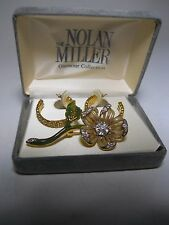 Nolan Miller Glamour Star Luster hoop earrings, enamel crystal flower brooch NEW