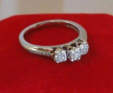 ☆ Dazzle Diamond Cluster ☆ Hearts Trio ☆ Ladies Ring 10K White GOLD Size 6.75 ☆