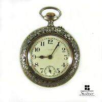 Antike Taschenuhr Hungaria Silber Blatt Dekor Jugendstil funktionstüchtig