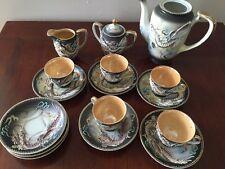 Satsuma Dragon Ware Service Tea Set Japan hand painted gold - 17 Pc. Lot