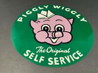 VINTAGE PIGGLY WIGGLY ORIGINAL SELF SERVICE GROCERY STORE PORCELAIN METAL SIGN