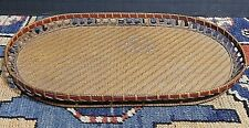 Antique Nantucket Woven Grass Serving Tray Museum Quality WOW!