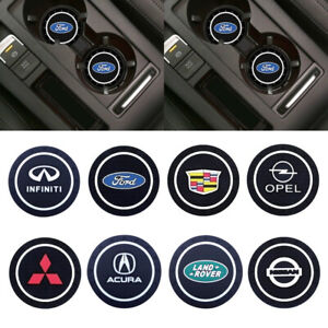 2 Pcs Pack 2.83 inch Car Logo Vehicle Auto Cup Holder Insert Silicone Coaster