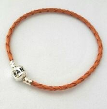 Orange Braided Leather Bracelet Chain Bangle With Clasp For European Charm Beads