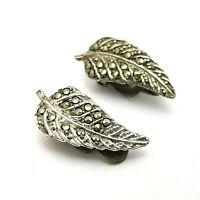 Vintage Costume Jewellery Silver Tone Marcasite Leaf Clip On Earrings