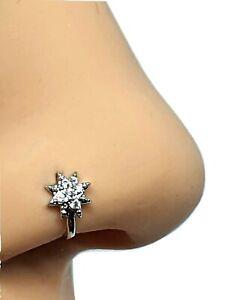 Clip On Nose Stud Star Cuff CZ Cubic Zirconia Micro Pave Jewelry Non Pierced