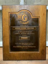 Vintage BF Goodrich Tire Dealer Copper Award Plaque Sign Moser Service IN 1943