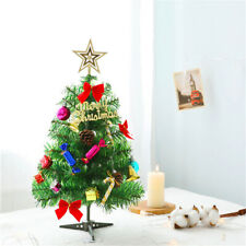 More details for 50cm mini christmas tree xmas tabletop artificial ornament tree with led lights