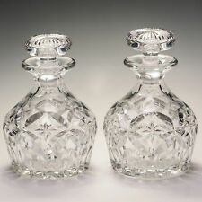 Stuart Crystal Pair Vintage Heavy Weight Deep Cut Decanters c.1910-30