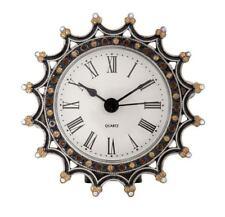 Vintage Crown-Style Decorative Enamel Diamante Grey Metal Clock 9D X 3Cm