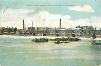 Rockford Illinois~Rock River Dam~Chicago & Northwestern RR Bridge~1911 Postcard