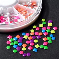 Neon Color DIY Stud Nail Art 3d Design Decoration Stickers Metallic Studs