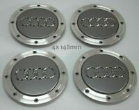4x148mm Audi Gray Wheel Center Caps Hubcaps Emblems Rim Caps Badges 4B0601165A