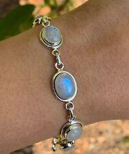 Stunning Genuine Sterling Silver 925 Ladies Moonstone Bracelet Bangle Gemstone