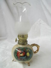 Vintage Enesco Japan miniature footed Oil Lamp fruit design gold gilding