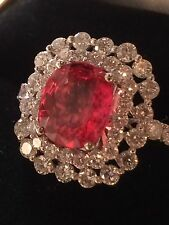 18K GOLD 6.05 CT GIA CERTIFIED NO 1 HEAT PINK PADPARADSCHA SAPPHIRE DIAMOND RING