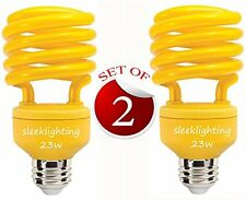 SleekLighting 23 Watt T2 YELLOW Bug Light Spiral CFL Light Bulb, 120V, E26 Mediu